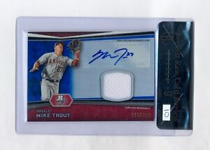 MIKE TROUT 2012 BOWMAN PLATINUM BLUE AUTO JERSEY ROOKIE RC #124/199 BGS 9 10