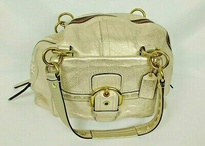 Coach Metallic Gold Satchel Bag Large Pebbled Cowhide Leather Handbag F13137