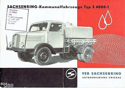 VEB Sachsenring Zwickau   LKW Lastkraftwagen Müllwagen S 4000 Prospekt DDR 1958