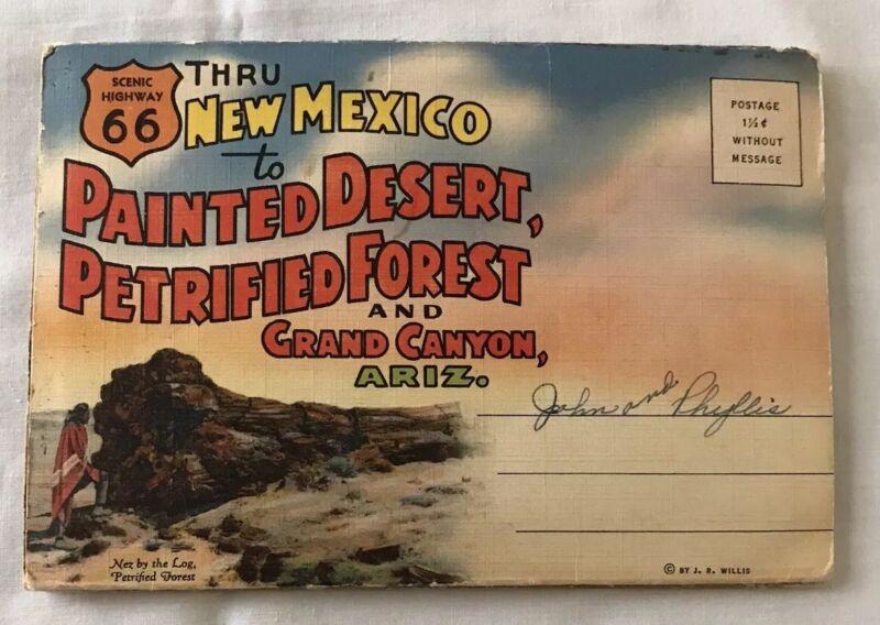 Souvenir Postcard Folder Highway 66 Painted Desert Petrified Forest Grand Canyon