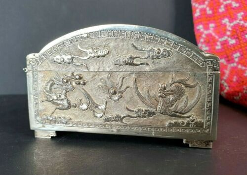 Old Tibetan Silver Dragon Box …beautiful collection and display piece