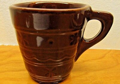 vintage mccoy brown pottery cup no number made in the USA with flower design