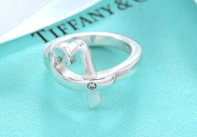 Tiffany & Co Silver Paloma Picasso Diamond Loving Heart Ring Size 6 w/ Packaging
