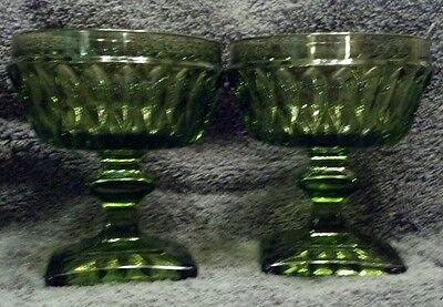 MINT 2 INDIANA MOUNT VERNON AVOCADO GREEN GLASS FRUIT DESSERT GOBLETS DISHES