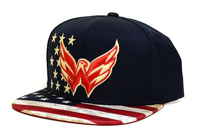 Nhl Washington Capitals Patriotic Snapback Cap  One Size  Navy
