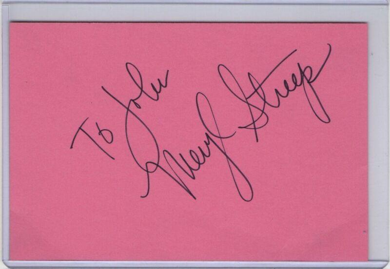 Meryl Streep Signed Autographed Index Card Legendary Actress JSA II59930