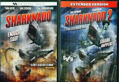 Syfy Shark Movies (SHARKNADO 1&2: The Second One-Tara Reid+Ian Ziering-SyFy Shark Horror- NEW 2)