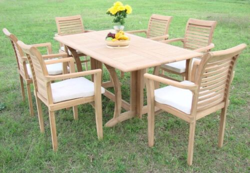 "Sam Grade-a Teak 7pc Dining 69"" Console Rectangle Table 6 Stacking Arm Chair Set"