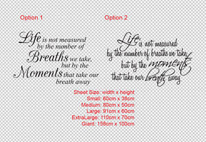 Life is not measured by Quote Wall Lettering Art Vinyl Decal sticker Removable