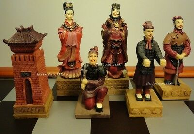Oriental TERRACOTTA ARMY Warriors Chess Men Set - NO BOARD - TERRA COTTA