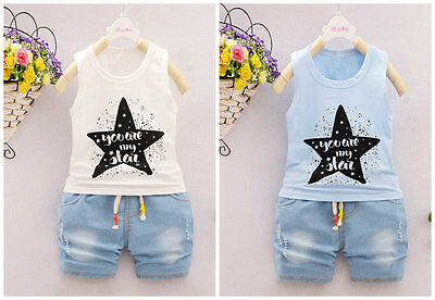 2pc baby boys clothes summer Tee+short pants kids boys holiday outfits star