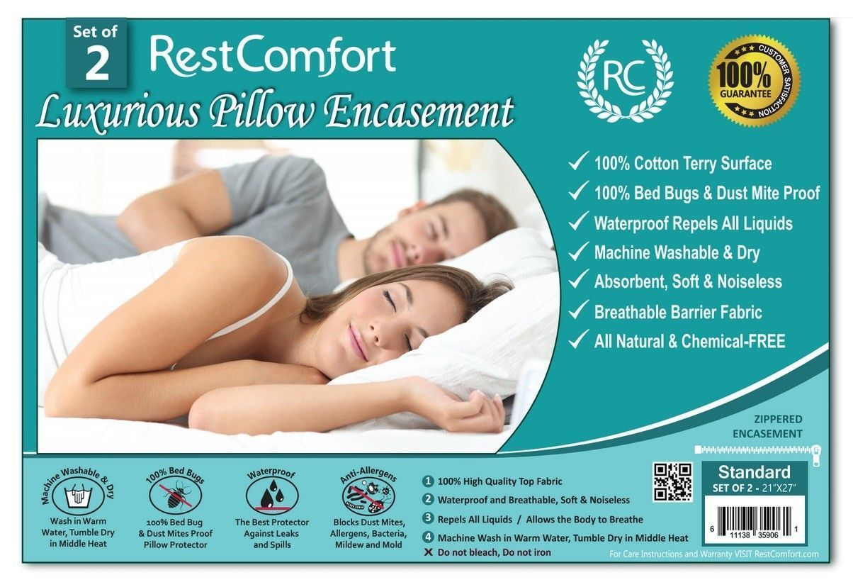 Set of 2 Cotton Terry Pillow Protector, Bed Bug & Dust Mite