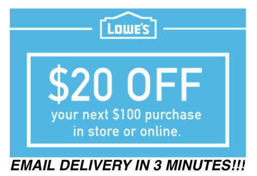 ONE Lowes $20 OFF $100 Coupons Discount - In store/online -    FASTEST SHIP!