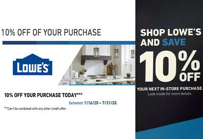 Lowes 10% OFF 1Coupons Discount - Lowe's INSTORE ONLY -FAST Delivery