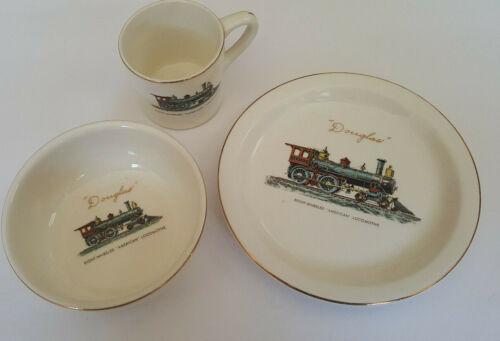 Vintage Train Plate Set - Bowl Cup Locomotive Kids Ceramic