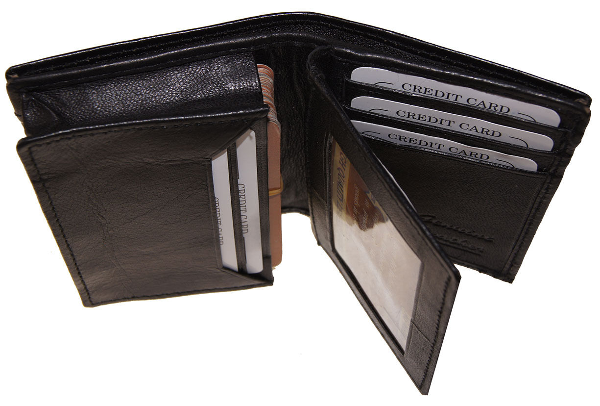 Mens Expandable Leather Credit/Business Card Holder front pocket Gusset Wallet