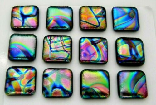 """3/4"""" SIZE (20mm) Lot 12 pcs square DICHROIC earrings FUSED GLASS (F1) CABS"""