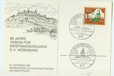 BRD FDC Ersttagsbrief Karte 1965 Briefmarkenkunde Würzburg Mi.Nr.485