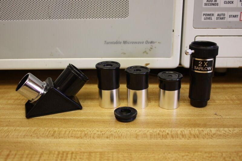 ".965"" Telescope Eyepiece 6mm 12.5 20mm, 2x Barlow, 90 Deg Diagonal & Moon Filter"