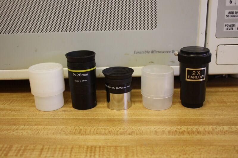 """1.25"""" Bresser 26mm Plossl Meade 9.7mm Super Plossl Telescope Eyepieces 2x Barlow"""