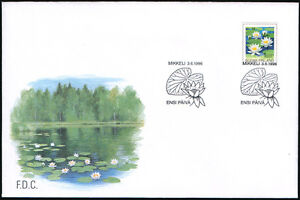 Finland-FDC-1996-Flower-European-White-Waterlily-Mint