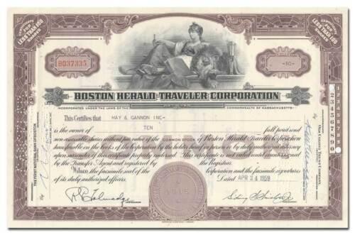 Boston Herald-Traveler Corporation Stock Certificate