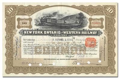 New York, Ontario and Western Railway Company Stock Certificate Western Railway Stock