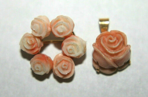 Vintage 14K Yellow Gold Carved Pink Coral Florets Flowers Roses Pin Pendant Set