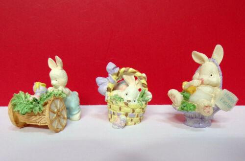 Miniature Spring BUNNY RABBITS Happy Easter Basket Resin Enesco Figurines