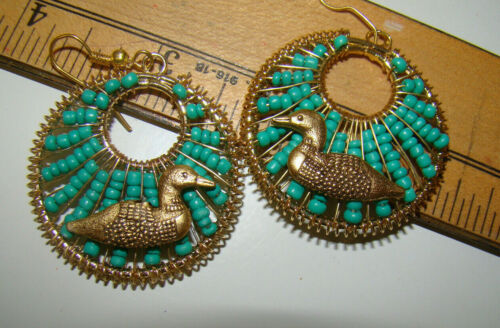 """Green BEADED Goldtone 1 1/2"""" Round with LOONS EARRINGS New"""