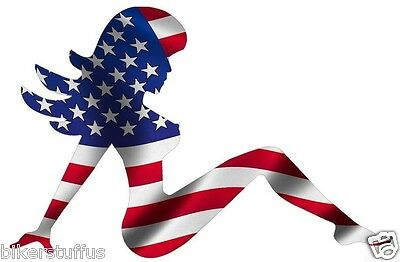 (MUDFLAP GIRL AMERICAN USA FLAG STICKER LAPTOP STICKER TOOLBOX STICKER HARD HAT )