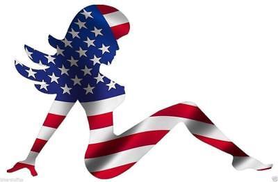 (Mud Flap Girl American Flag Sticker for skateboard luggage laptop tumblers car )