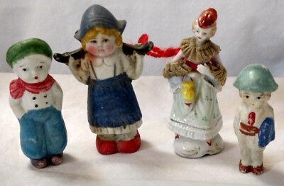Antique Lot of 4 Bisque Porcelain Japan Figures Dutch Kids Woman Hand Painted