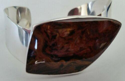 Old Rare Jay King DTR Sterling Silver Pietersite Mocha Browns Cuff Bracelet
