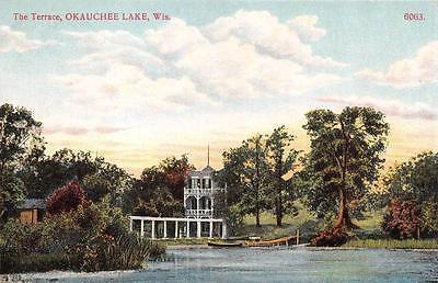 OKAUCHEE LAKE, WI  Wisconsin     THE TERRACE  Boat & Dock      c1910's Postcard