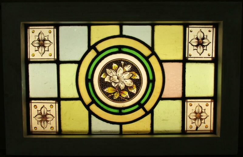 """VICTORIAN ENGLISH LEADED STAINED GLASS WINDOW Hand Painted Floral 18.5"""" x 12"""""""