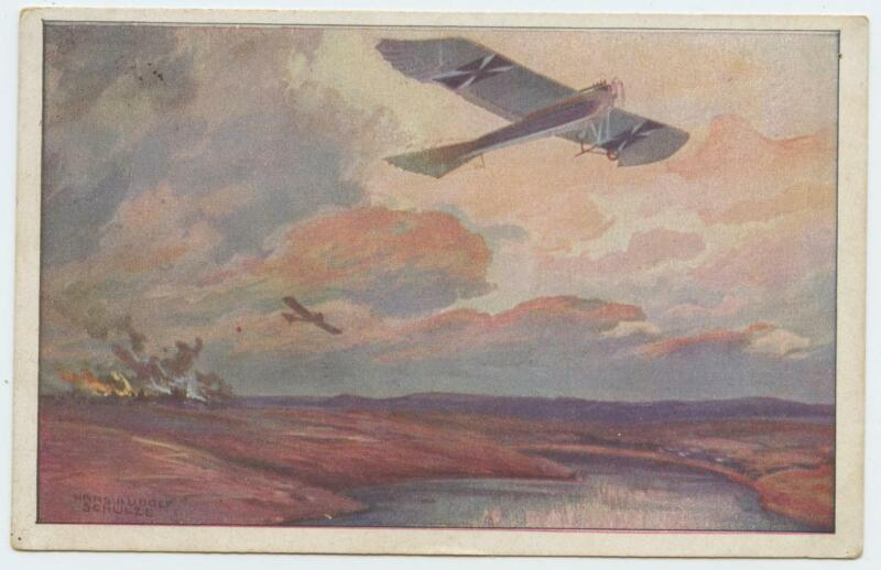 1918 WWI German Color Postcard Single Wing Fighter Airplane Hanz Rudolf Schulze
