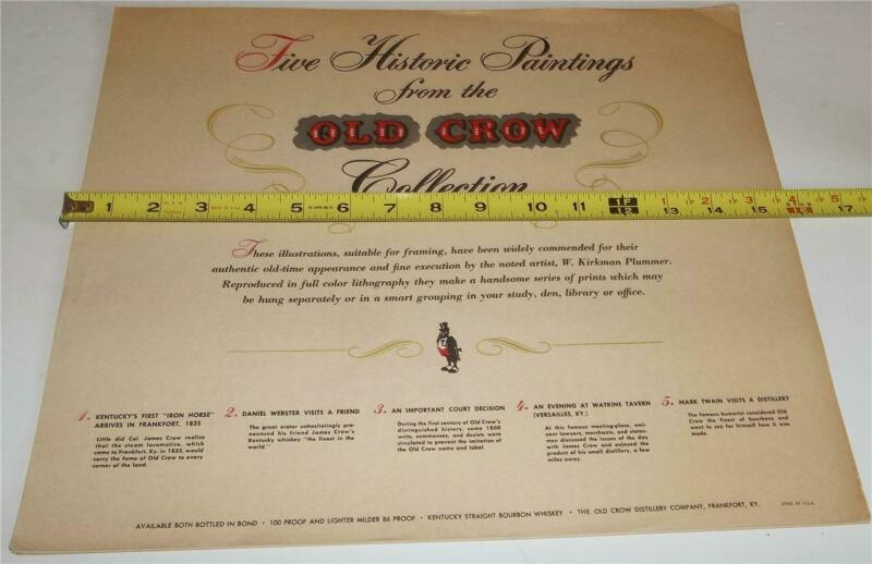 Vintage Old Crow Bourbon Whiskey Historic Paintings Signs   Rare Complete Set