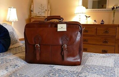 Hidesign Minister Mens Brown Leather Briefcase Suitcase Suit Carrier Weekend Bag