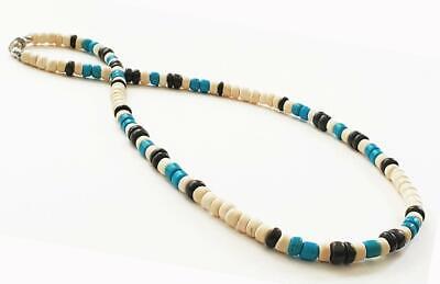 Men's Tan Blue Wooden CoCo Beads Necklace Surfer Choker Teen's -