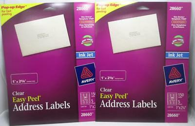 Avery 28660 Clear Easy Peel Address Labels 1 X 2 58 --10 Sheets X30 300