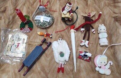 Lot 12 Christmas Ornaments Mixed Light up Santa Moose Angel Vintage 1984 Enesco