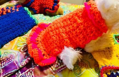 Med COLORS HIGHLIGHTER Dog Apparel Dress & w/MEOW PINK Big Ruffles