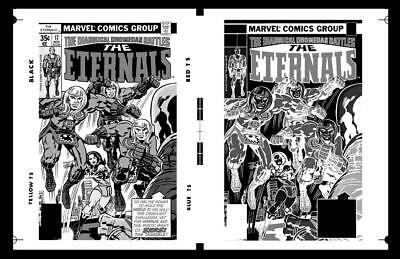 Jack Kirby Eternals #17 Cover And Negative Rare Large Production Art