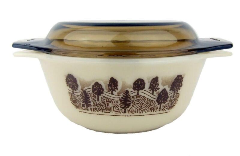 Vintage Retro Pyrex England Casserole Dish Bowl Brown Forest Trees + Glass Lid