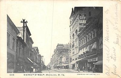 Market Street Wheeling West Virginia Bank School Books Signs Postcard 1905