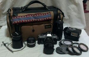 Nikon FG 35mm Film SLR Camera 3 Lenses TeleConverter Flash Filters & Bag Bundle!