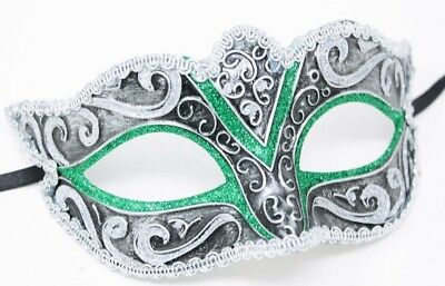 GREEN ,  SILVER AND BLACK STUNNING VENETIAN  MASQUERADE PARTY EYE MASK  (Black And Green Masquerade Mask)
