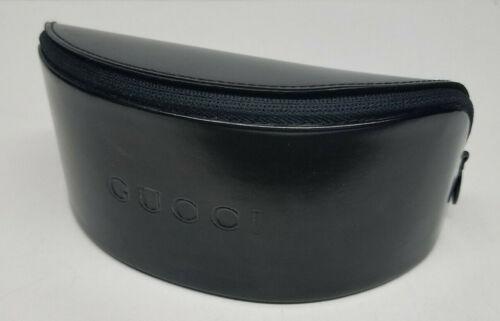 Authentic BIG GUCCI Leather  Sunglasses Hard Case Zipper Black Felt Lined NEW