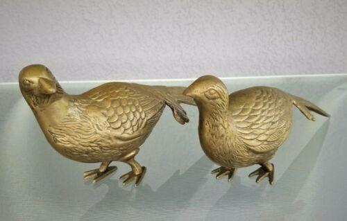 Large Pair Mid Century Modern Brass Pheasants Home Decor Quail Hunting Birds